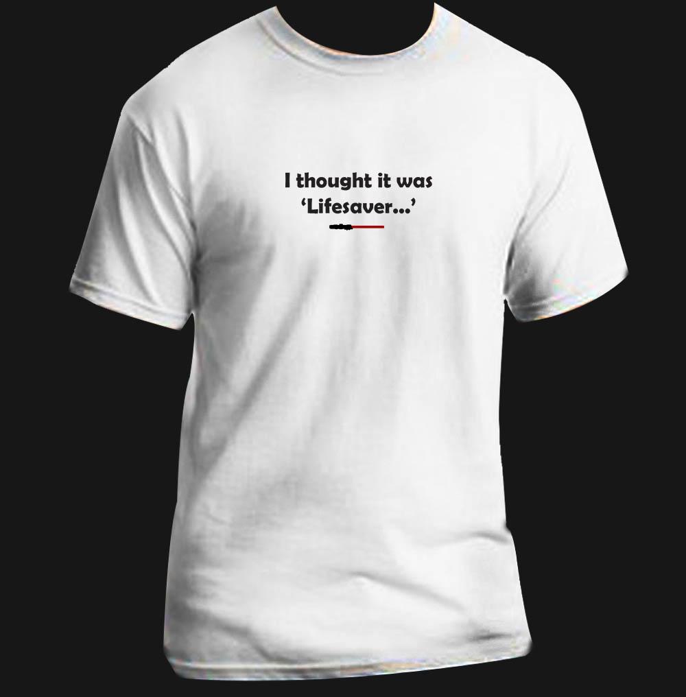 Lightsabre lifesaver funny star wars t shirt adult black for Small quantity custom t shirts